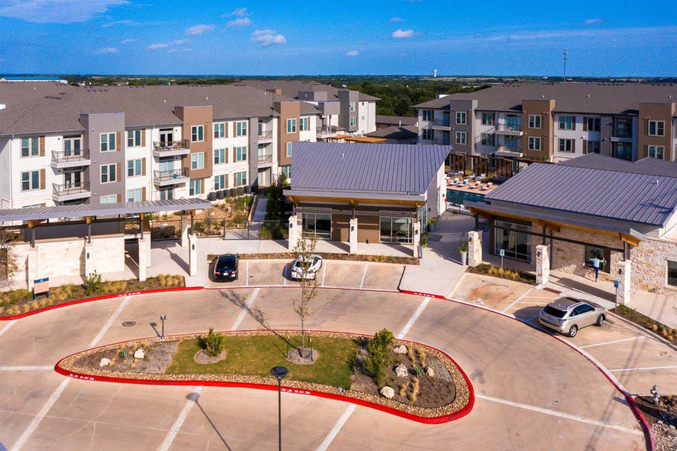 Aerial View of The Conley Apartments in Leander, TX