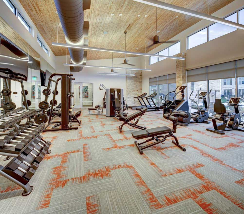 24-Hour Fitness Center at The Conley Apartments in Leander, TX