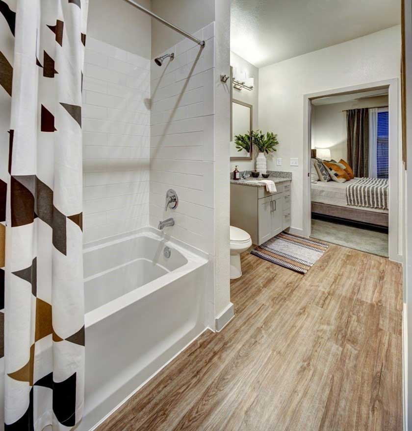 Bathtub and Shower at The Conley Apartments in Leander, TX