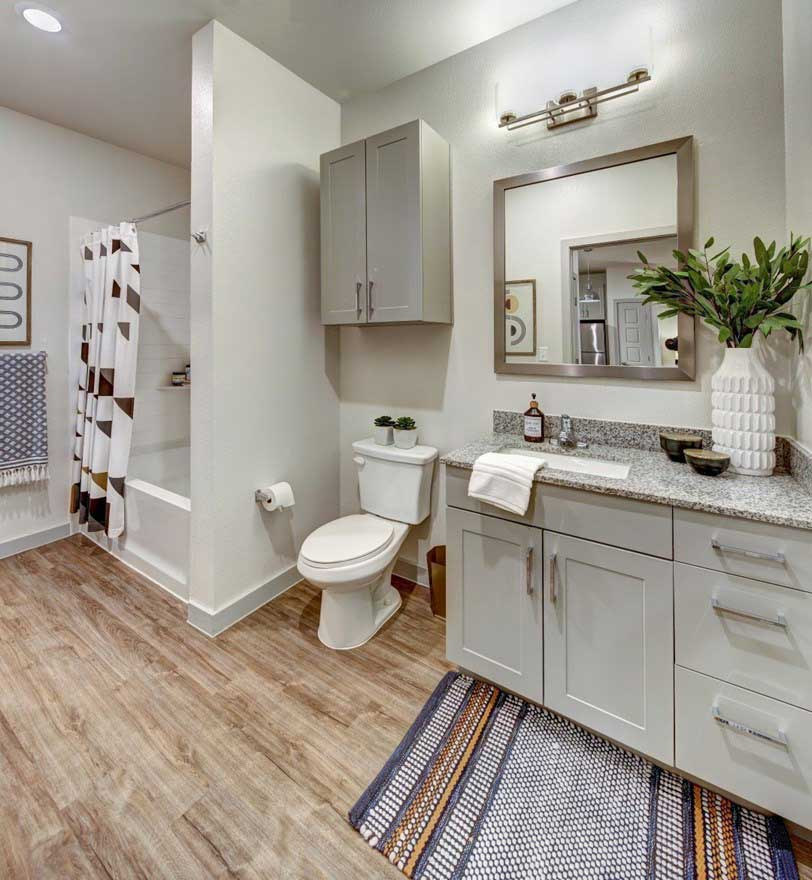 Bathroom Vanity with Framed Mirror at The Conley Apartments in Leander, TX