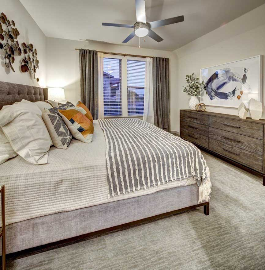 Ceiling Fans in Bedrooms at The Conley Apartments in Leander, TX