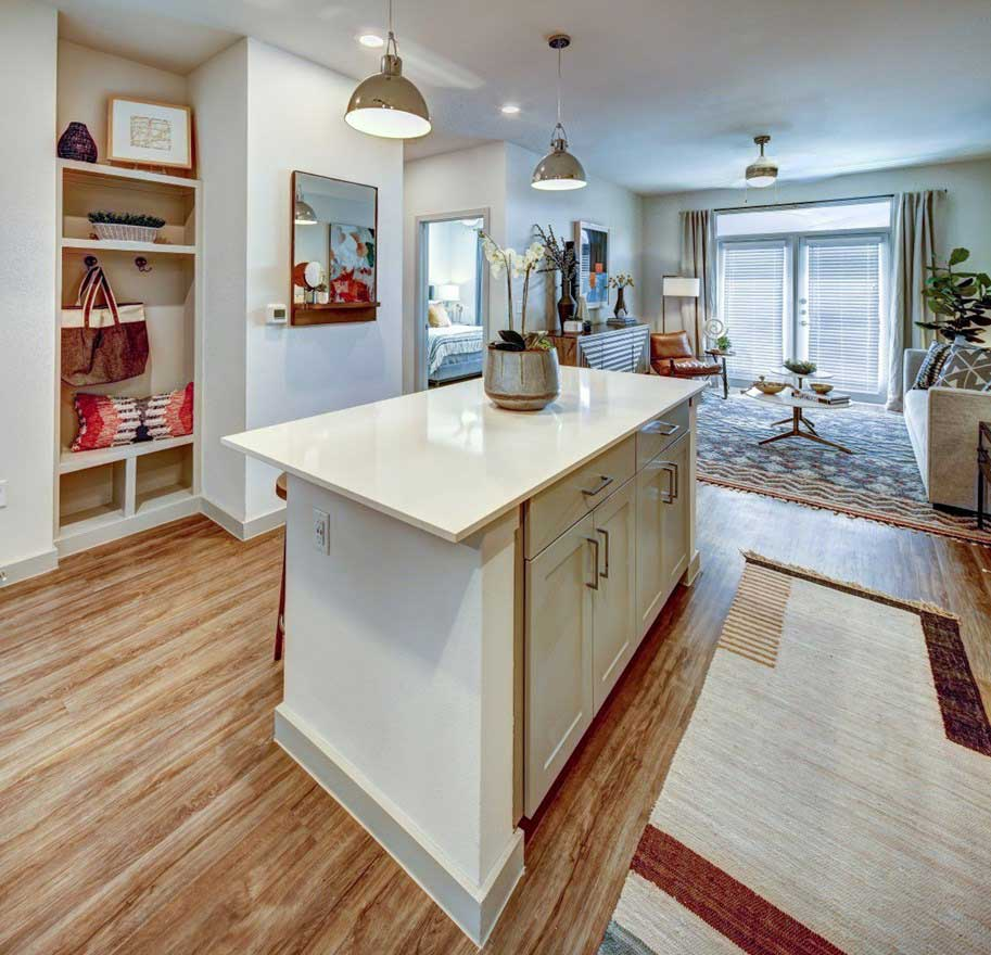Kitchen Island at The Conley Apartments in Leander, TX
