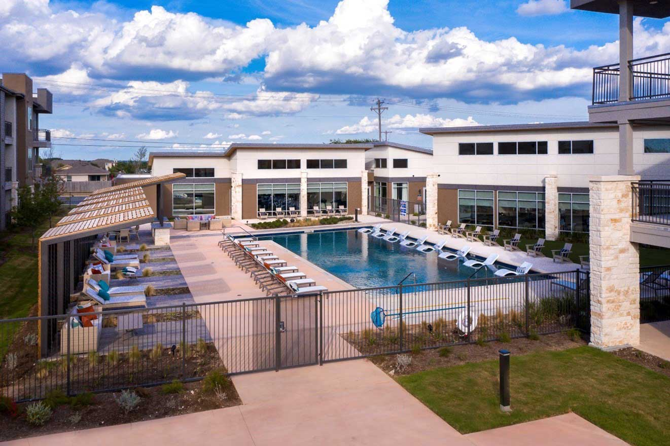 Gated Pool Area at The Conley Apartments in Leander, TX