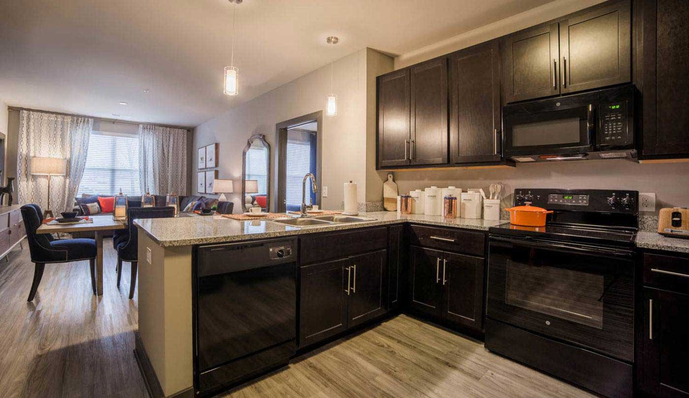 Fully Equipped Kitchen at The Flats Apartments in Miamisburg, OH