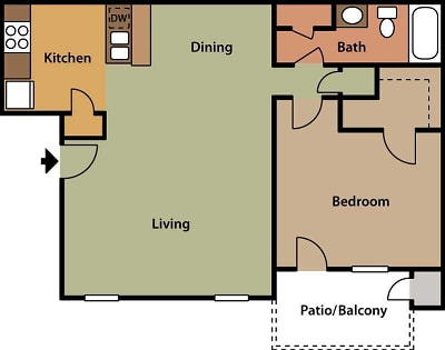 The Harrison - Floorplan - One Bedroom B