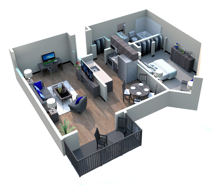 The Retro Apartments - Floorplan - Garden District