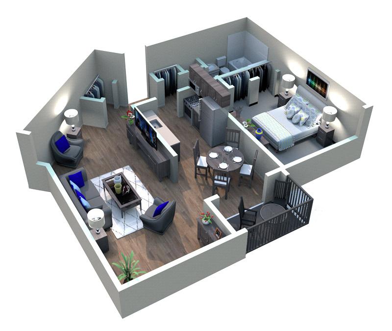 The Midrise Apartments - Floorplan - Vieux Carre