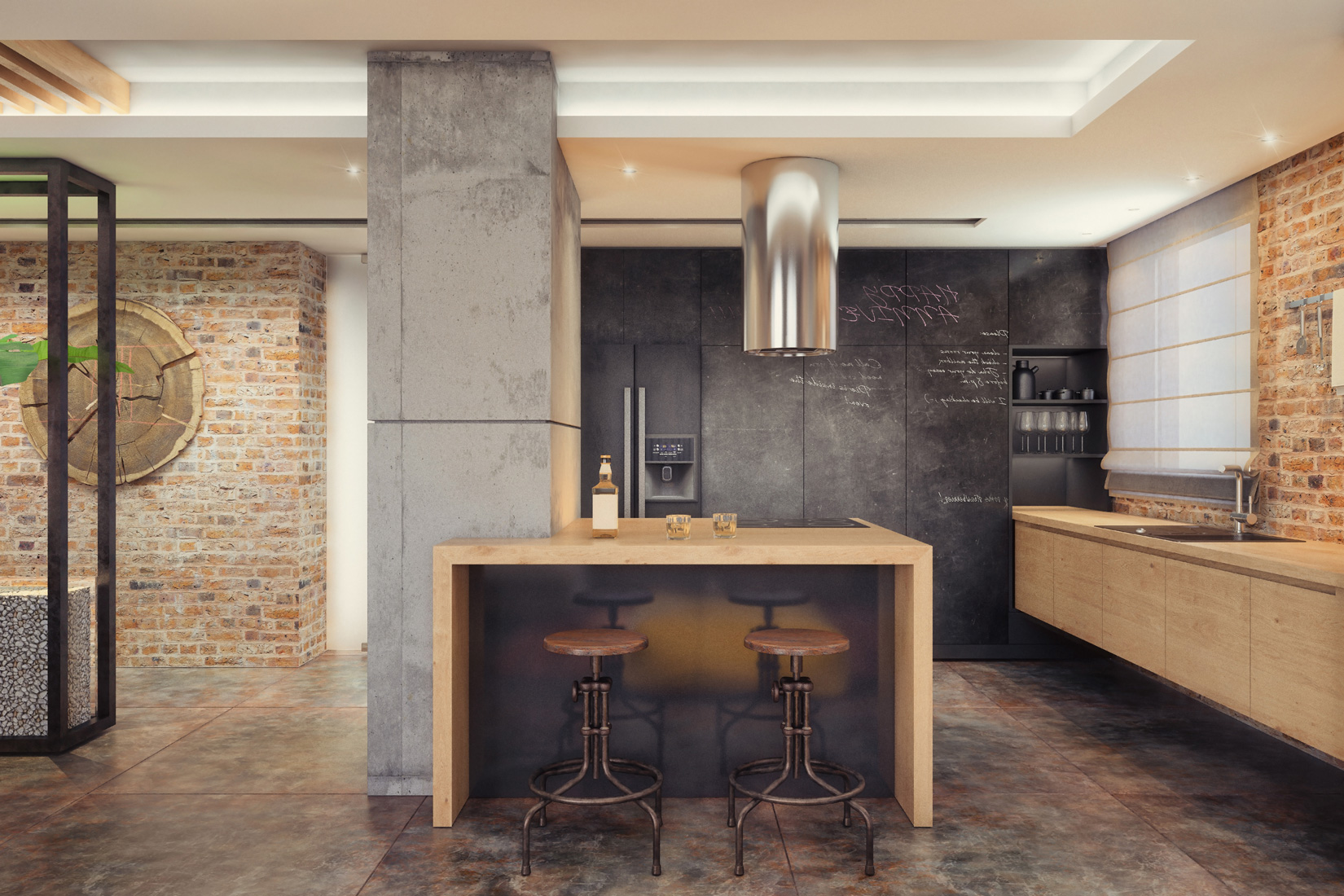 Kitchen with Breakfast Bar at The Legend Lofts  in New Orleans, LA