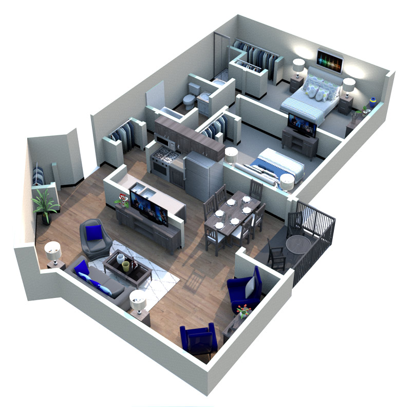 The Downtown Apartments - Floorplan - Boardmoor