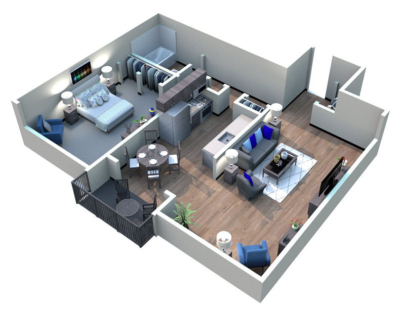 The Downtown Apartments - Floorplan - Midcity