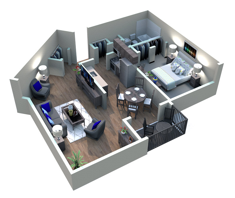 The Downtown Apartments - Floorplan - VIEUX CARRE