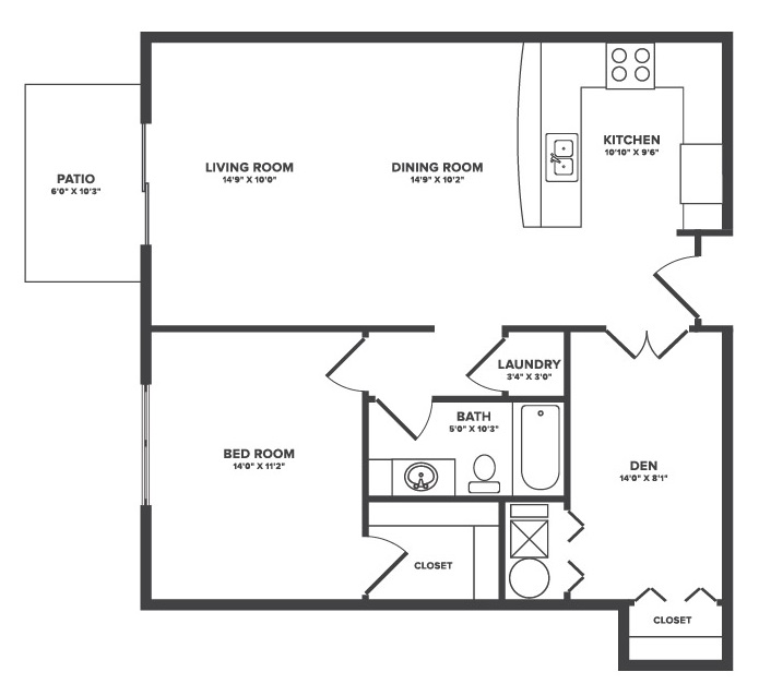 The Oaks at Lakeview - Floorplan - Caspian - 1Bed + Flex Space