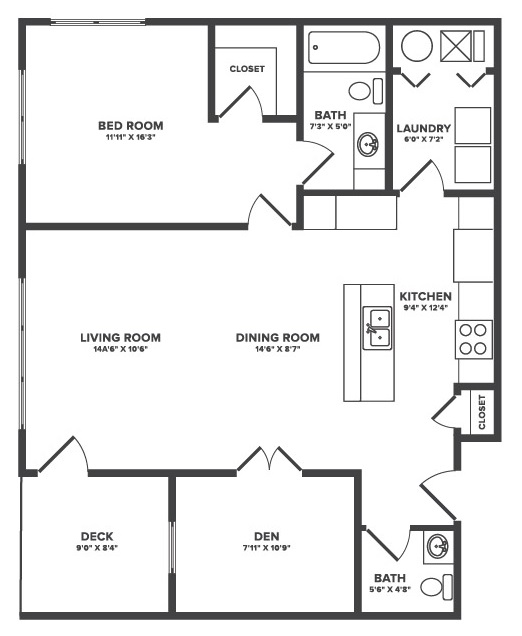 Floorplan - Cranford - 1Bedroom + Flex Space image