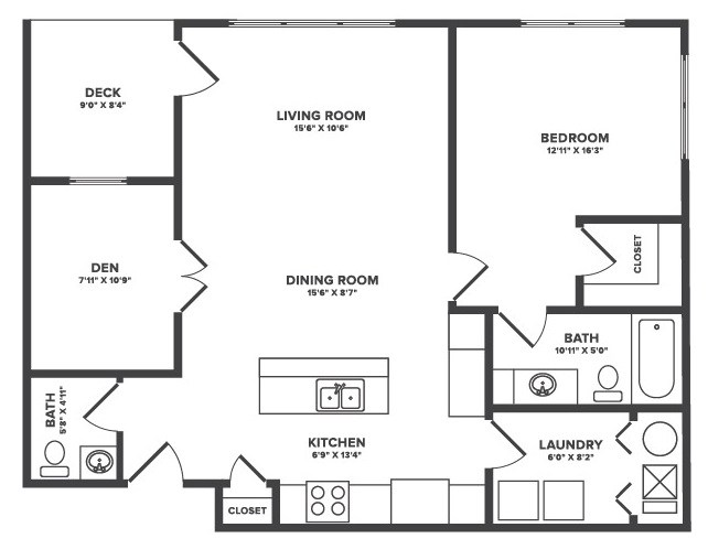 The Oaks at Lakeview - Floorplan - Dover - 1Bedroom + Flex Space