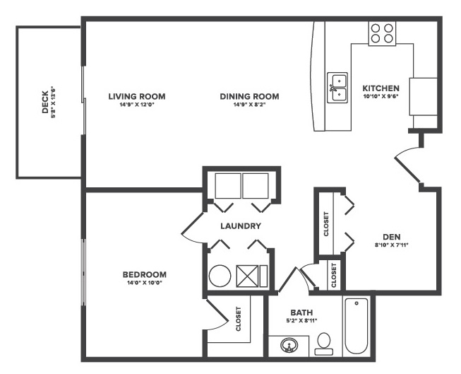 Floorplan - Fontaine - 1Bedroom + Flex Space image