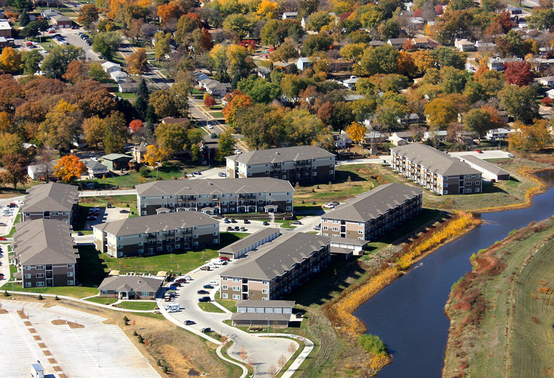 Aerial View of Apartment Community at The Oaks at Lakeview Apartments in Ralston, NE