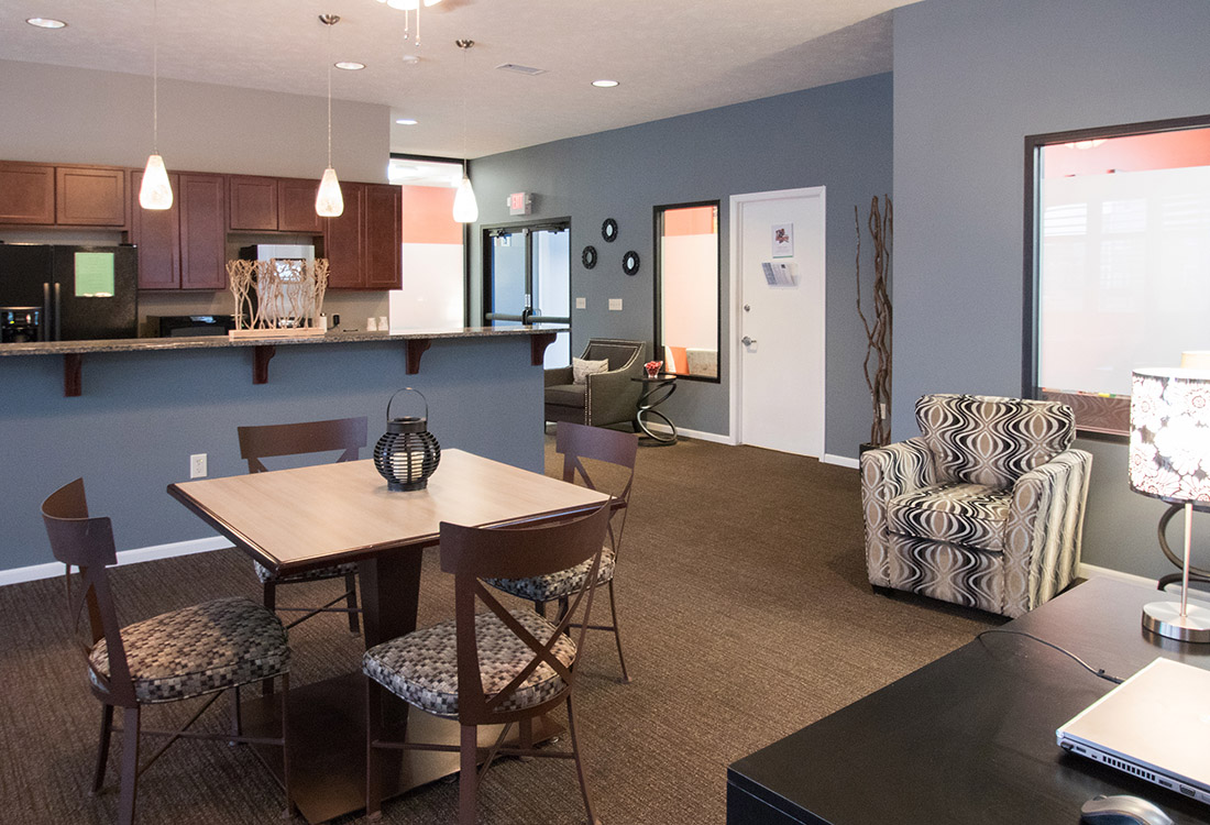 Community Kitchen at The Oaks at Lakeview Apartments in Ralston, NE