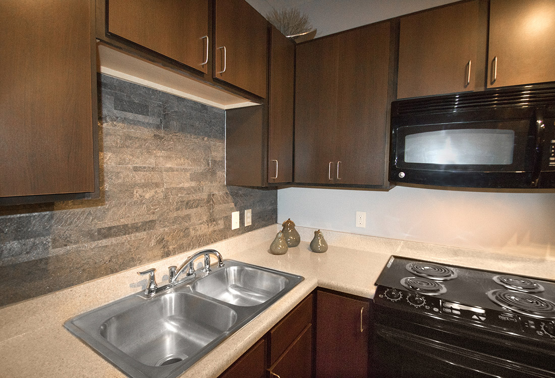 Black Kitchen Appliances at The Oaks at Lakeview Apartments in Ralston, NE