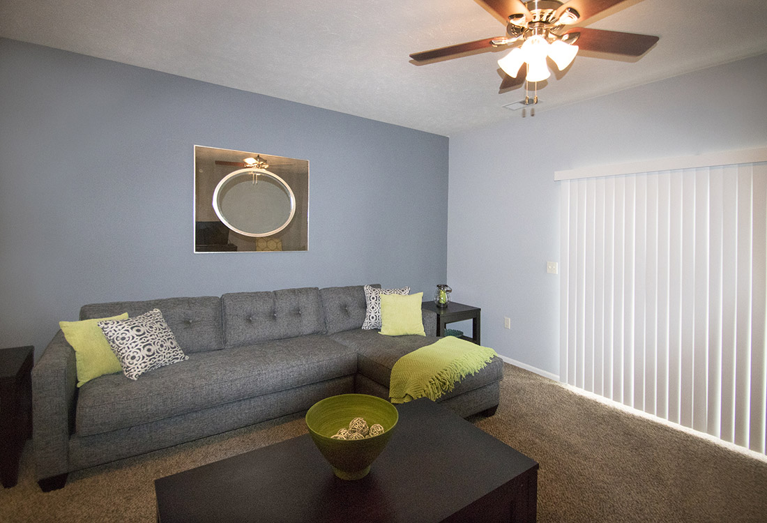 Spacious Living Rooms at The Oaks at Lakeview Apartments in Ralston, NE