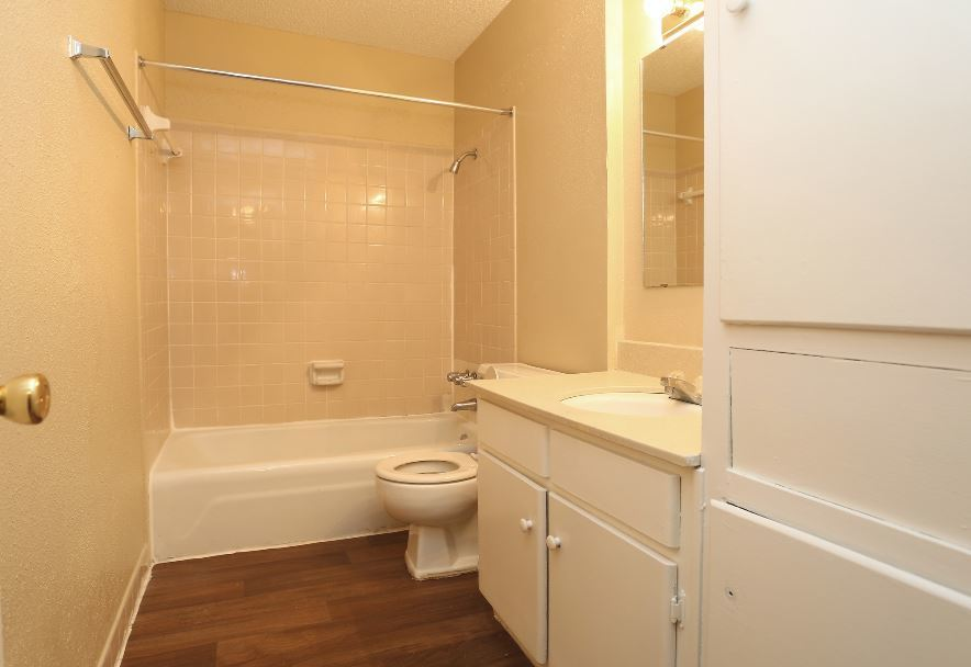 Bathtub and Shower at The Pointe Apartments in Port Arthur, Texas