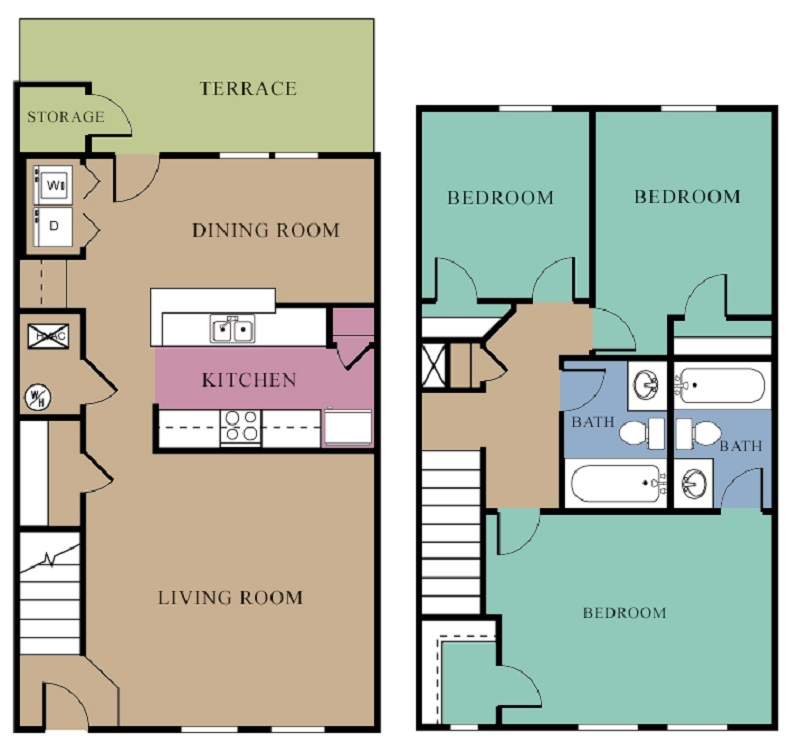 The Regency Apartments - Floorplan - 3 Bedroom - A w/ Fireplace
