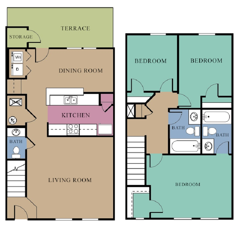 The Regency Apartments - Floorplan - 3 Bedroom - B w/ Fireplace