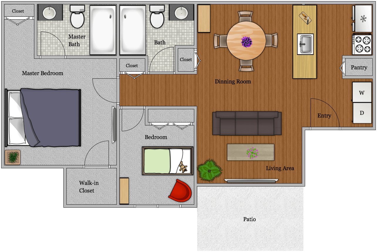 The Watermark - Floorplan - 2B2B 966