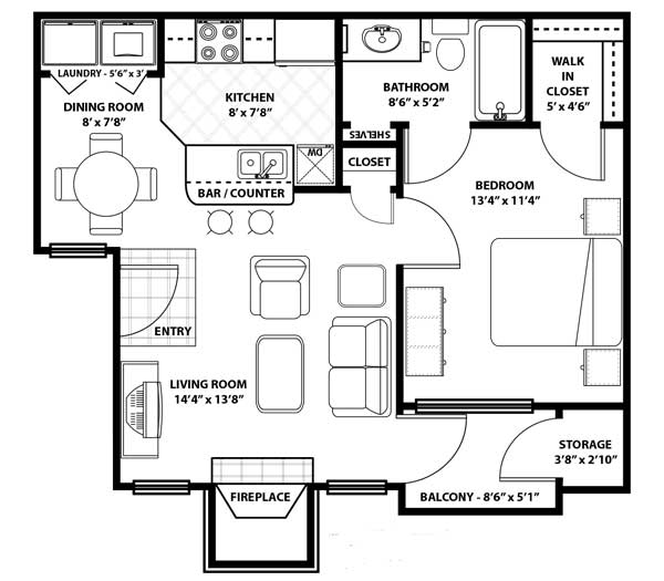 Westmount at Three Fountains - Floorplan - A1 Renovated