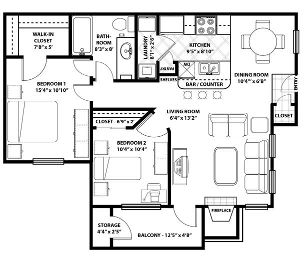 Floorplan - B1 Renovated image