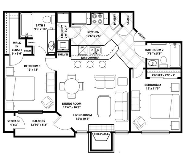 Westmount at Three Fountains - Floorplan - B-2