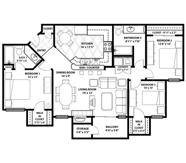 Westmount at Three Fountains - Floorplan - C-1