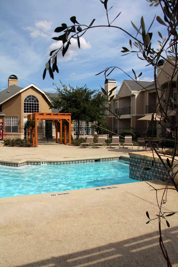 Poolside Lounge Area at Westmount at Three Fountains Apartments in San Antonio, Texas