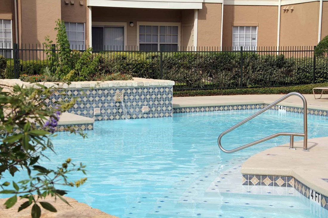 Gated Pool Area at Westmount at Three Fountains Apartments in San Antonio, Texas