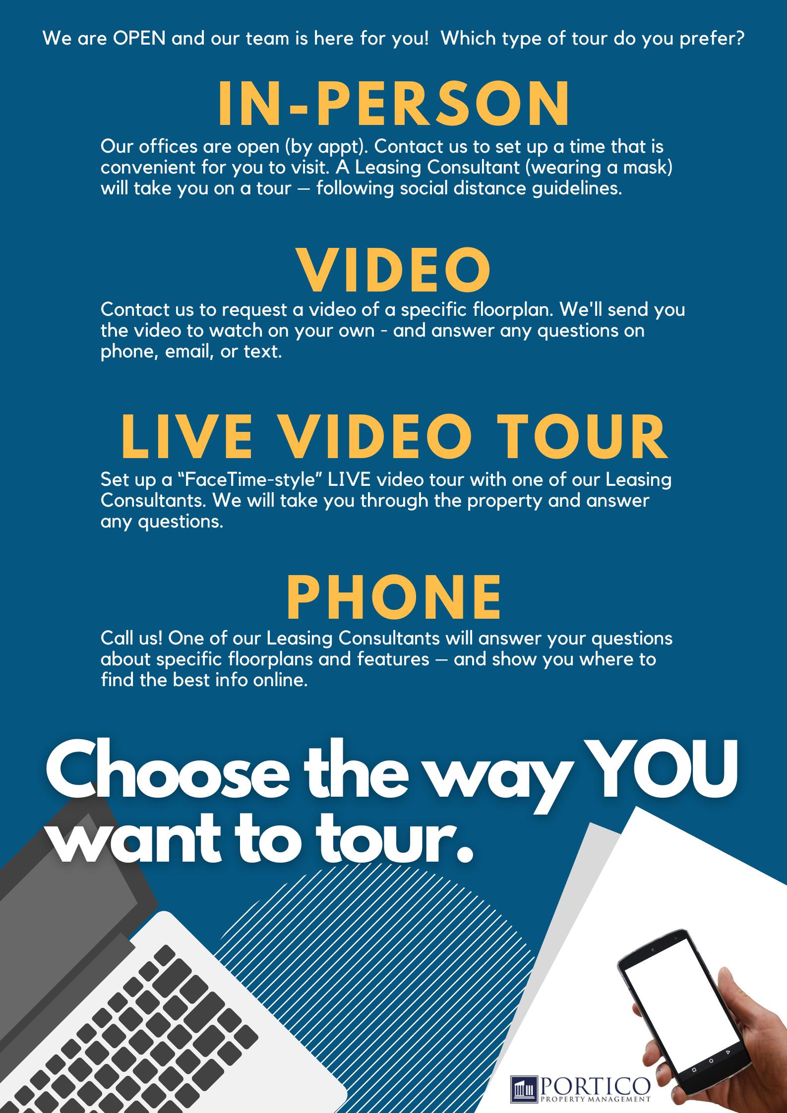 Tour Options at Westmount at Three Fountains Apartments in San Antonio, Texas