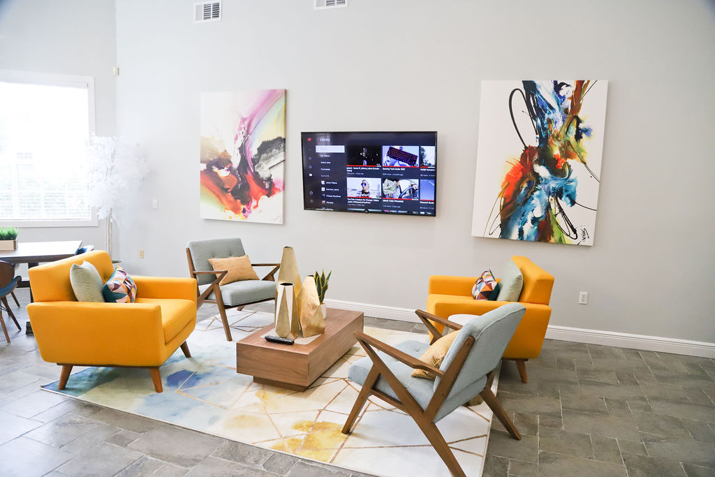 Community TV Lounge at Westmount at Three Fountains Apartments in San Antonio, Texas