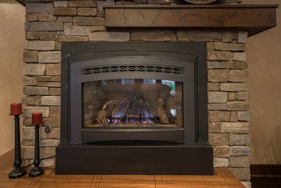 Stylish Fireplace at Timberline Place Apartments in Flagstaff, Arizona