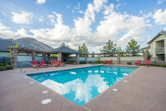Outdoor Swimming Pool at Timberline Place Apartments in Flagstaff, Arizona