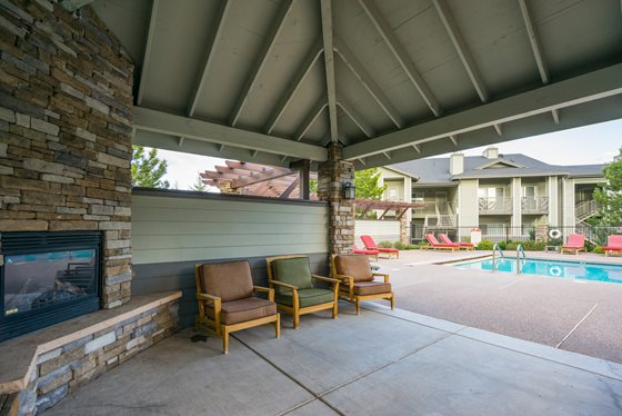 Outdoor Fireplace and Lounge at Timberline Place Apartments in Flagstaff, Arizona