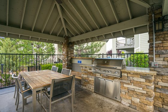 Propane Grilling Stations with Seating at Timberline Place Apartments in Flagstaff, Arizona
