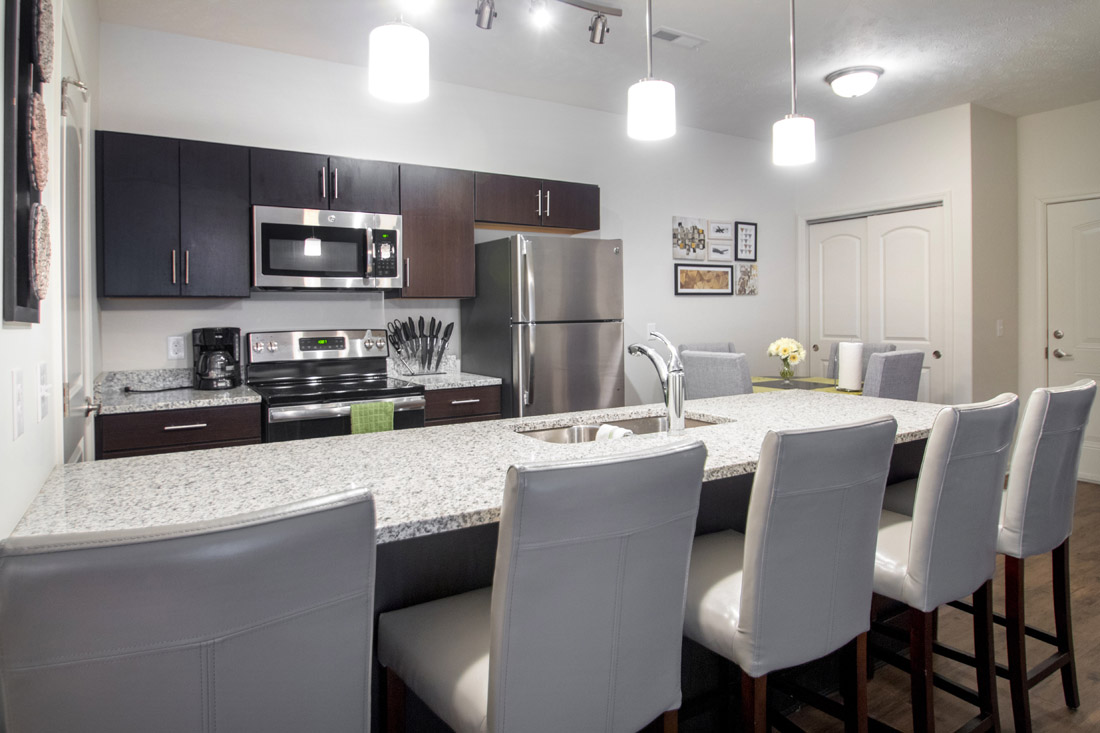 Kitchen at Titan Springs Apartments in Papillion, Nebraska
