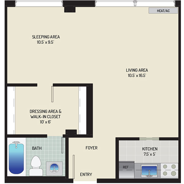 Top of the Hill Apartments - Floorplan - Studio