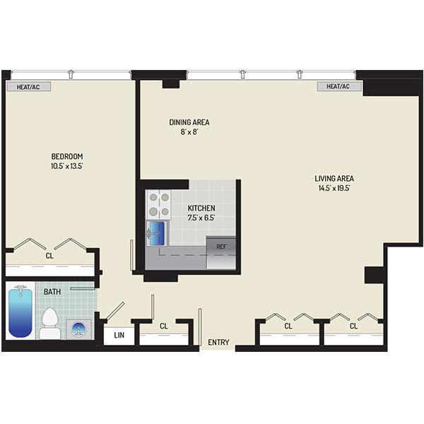 Top of the Hill Apartments - Floorplan - 1 Bedroom, 1 Bath