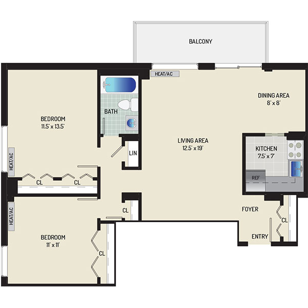 Top of the Hill Apartments - Floorplan - 2 Bedrooms, 1 Bath