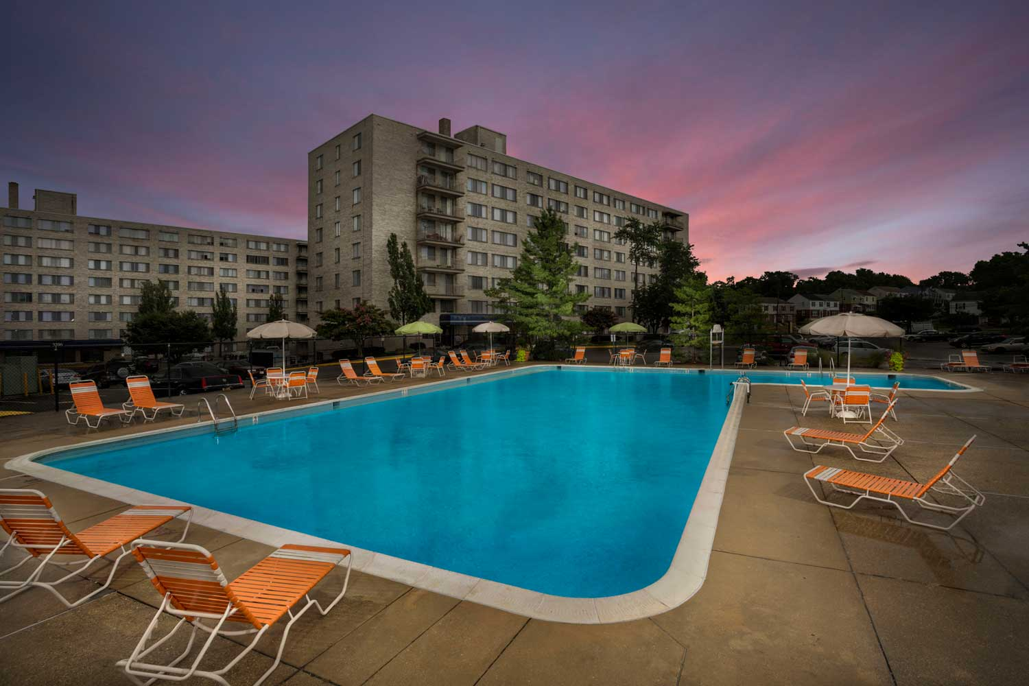 Relaxing swimming pool at Top of the Hill Apartments in Temple Hills, MD