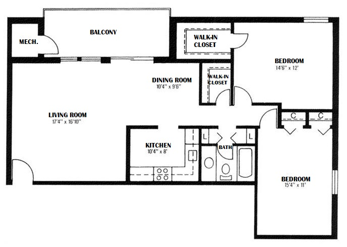 Floorplan - 2 Bedroom, 1 Bath image