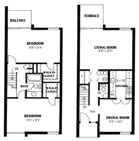 Towne Crest Apartments - Floorplan - 2 Bedrooms, 1.5 Bath