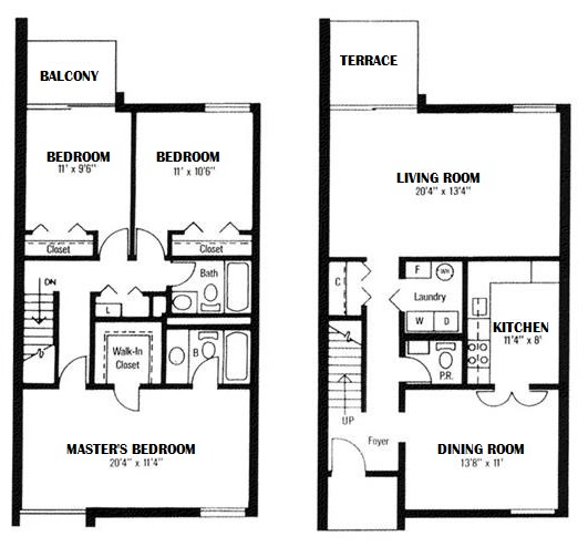 Towne Crest Apartments - Floorplan - 3 Bedroom, 2.5 Bath