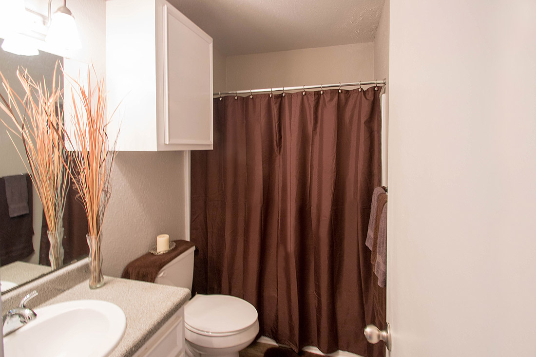 Spacious Bathrooms at The Trace at North Major Apartments in Beaumont, Texas