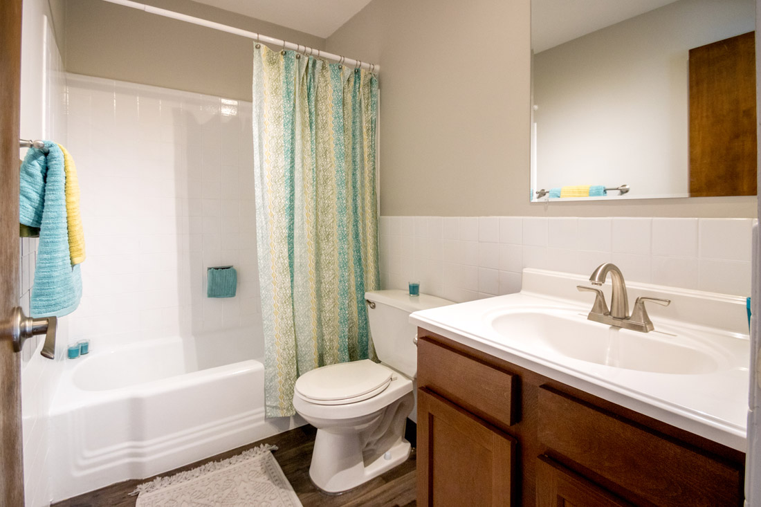Renovated Bathroom at Trenridge Gardens Apartments in Lincoln, NE