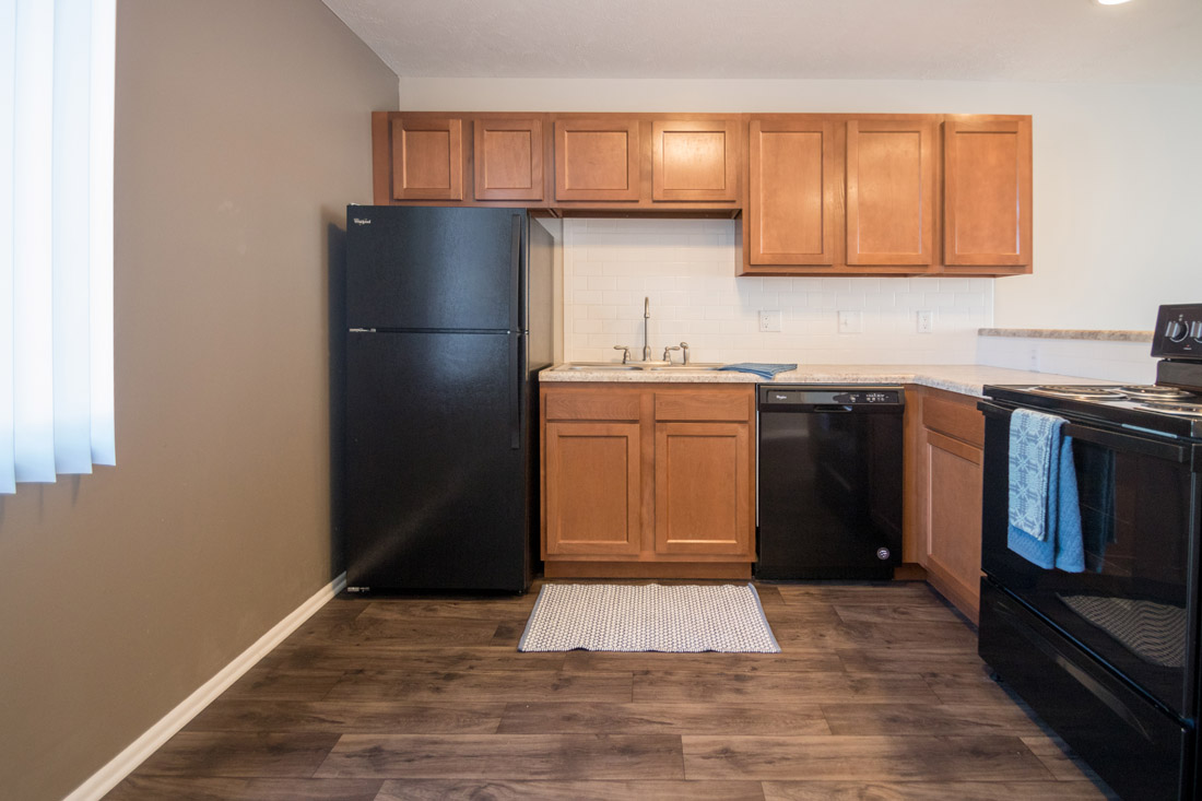 Apartments for Rent with Black Kitchen Appliances at Trenridge Gardens in East Lincoln, NE.
